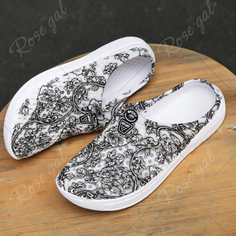 Shops Printed Hollow Out Slippers - 40 GRAY Mobile
