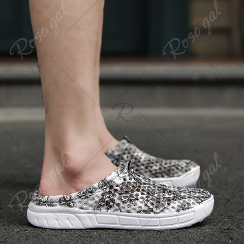 Fashion Printed Hollow Out Slippers - 40 GRAY Mobile