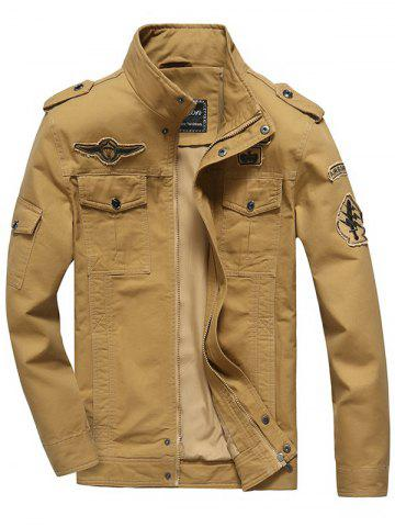 Front Pocket Embroidery Patch Design Jacket - Khaki - M