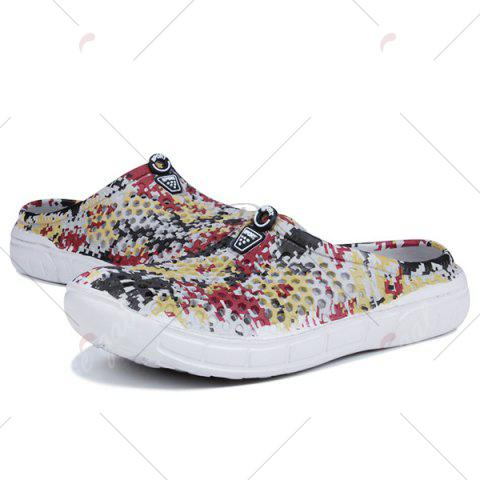 Shop Printed Hollow Out Slippers - 42 FLORAL Mobile