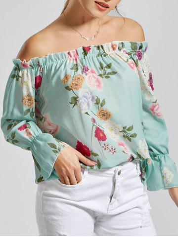 Off The Shoulder Floral Print Chiffon Blouse - Clover - M
