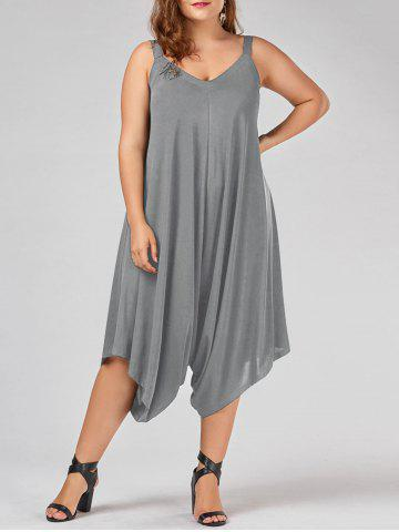 Outfits V Neck Plus Size Capri Baggy Jumpsuit - XL GRAY Mobile