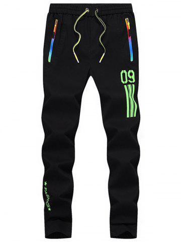 Outfit Number Printed Drawstring Beam Feet Sport Pants GREEN 32