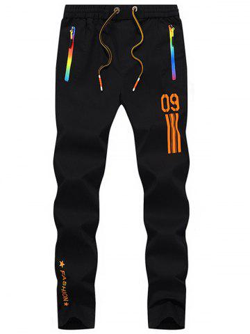 Numéro imprimé Drawstring Beam Feet Sport Pants Orange 36