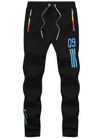Outfit Number Printed Drawstring Beam Feet Sport Pants - 34 BLUE Mobile
