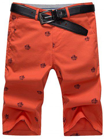 Trendy Slim Printed Chino Shorts RED 31