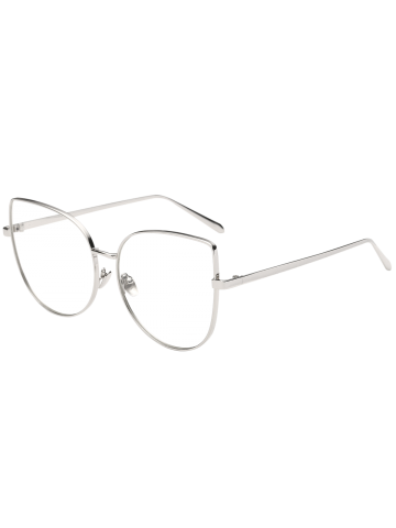 Outfit Street Snap Butterfly Shape Plain Sunglasses - SILVER  Mobile