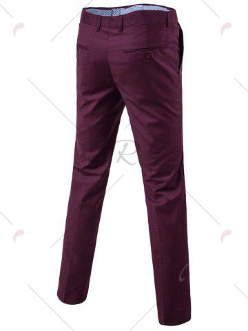 Sale Single Button Blazer and Pants Business Twinset - 3XL PURPLISH RED Mobile
