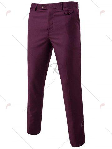 Cheap Single Button Blazer and Pants Business Twinset - 3XL PURPLISH RED Mobile