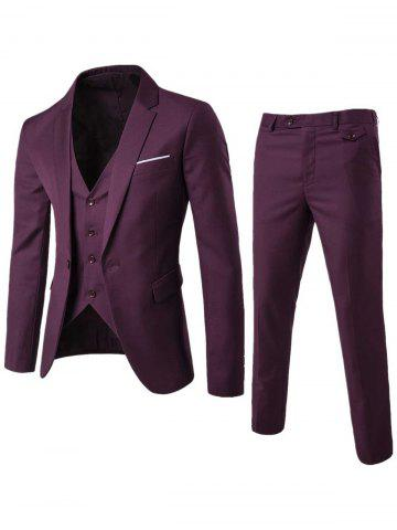 Affordable Single Button Blazer and Pants Business Twinset - 3XL PURPLISH RED Mobile
