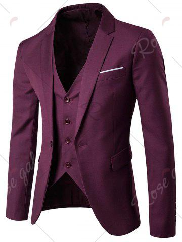Unique Single Button Blazer and Pants Business Twinset - 3XL PURPLISH RED Mobile
