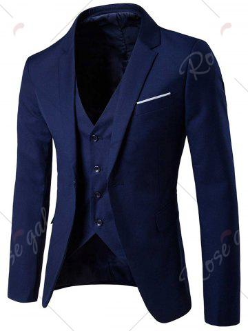 Buy Single Button Blazer and Pants Business Twinset - 5XL CADETBLUE Mobile
