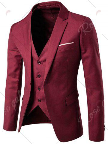 Store Single Button Blazer and Pants Business Twinset - 5XL WINE RED Mobile