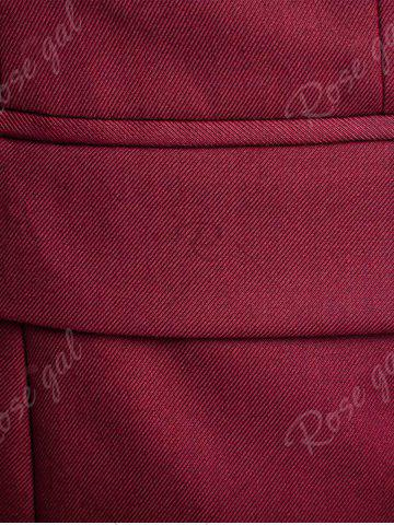 Fancy Single Button Blazer and Pants Business Twinset - 5XL WINE RED Mobile