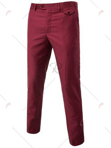 Unique Single Button Blazer and Pants Business Twinset - 5XL WINE RED Mobile