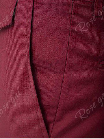 Hot Single Button Blazer and Pants Business Twinset - 5XL WINE RED Mobile