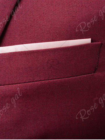 Outfits Single Button Blazer and Pants Business Twinset - 5XL WINE RED Mobile