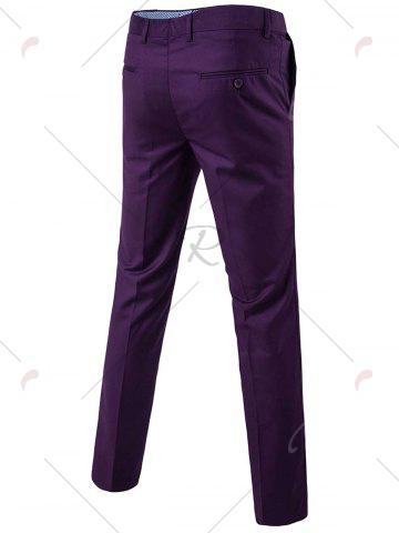 Chic Single Button Blazer and Pants Business Twinset - 5XL PURPLE Mobile
