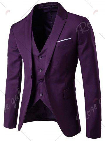 Trendy Single Button Blazer and Pants Business Twinset - 5XL PURPLE Mobile