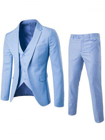 Cheap Single Button Blazer and Pants Business Twinset - 5XL LIGHT BLUE Mobile