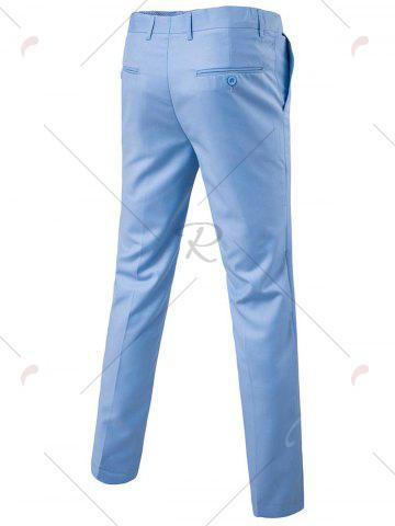 Affordable Single Button Blazer and Pants Business Twinset - 5XL LIGHT BLUE Mobile