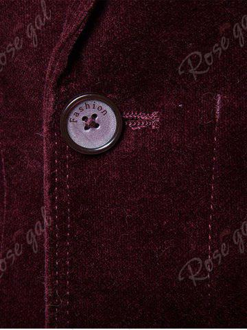Trendy Single Breasted Zipper Pocket Design Blazer - 3XL WINE RED Mobile
