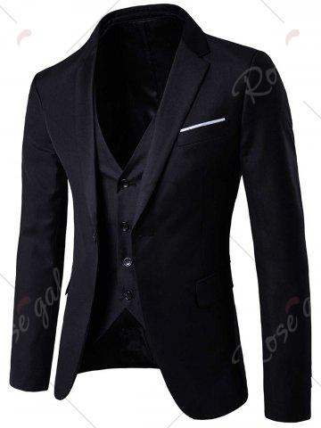 Hot Single Button Blazer and Pants Business Twinset - 5XL BLACK Mobile