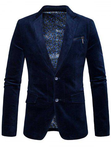Shops Single Breasted Zipper Pocket Design Blazer - 3XL CADETBLUE Mobile