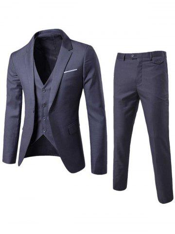 Affordable Single Button Blazer and Pants Business Twinset - 5XL DEEP GRAY Mobile