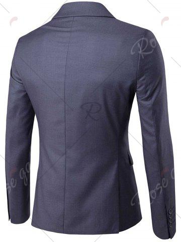 Trendy Single Button Blazer and Pants Business Twinset - 5XL DEEP GRAY Mobile