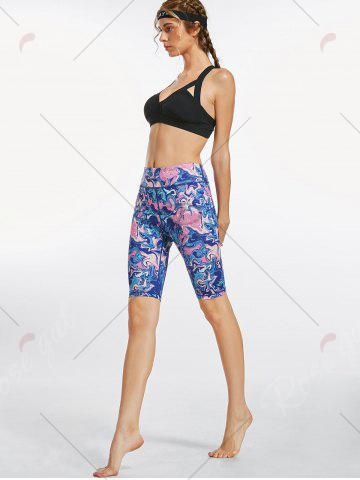 Latest Colorful Pattern Bermuda Fitness Leggings - S BLUE Mobile