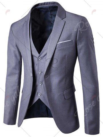 Latest Single Button Blazer and Pants Business Twinset - 5XL LIGHT GRAY Mobile