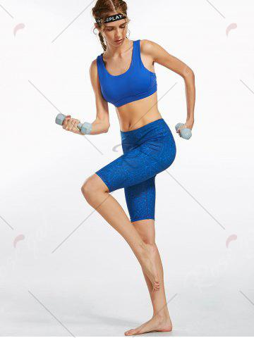 Cheap Line Drawing Pattern Knee Length Fitness Leggings - S BLUE Mobile