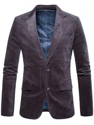 Fashion Single Breasted Zipper Pocket Design Blazer - 3XL DEEP GRAY Mobile