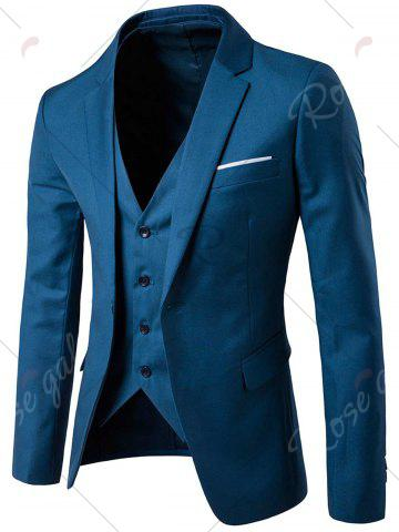 New Single Button Blazer and Pants Business Twinset - 5XL OCEAN BLUE Mobile
