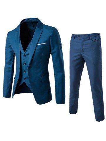 Sale Single Button Blazer and Pants Business Twinset - 5XL OCEAN BLUE Mobile