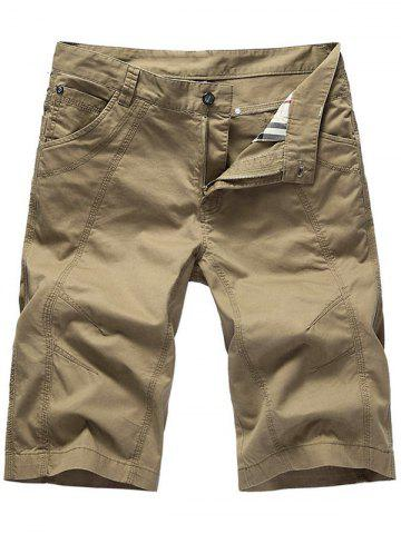 Zipper Fly Casual Slim Chino Shorts Kaki 31