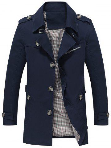 Discount Slim Fit Lapel Button Up Coat - 4XL BLUE Mobile