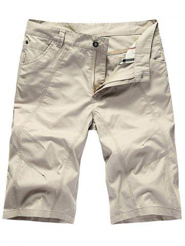 Zipper Fly Casual Slim Chino Shorts Blanc 35