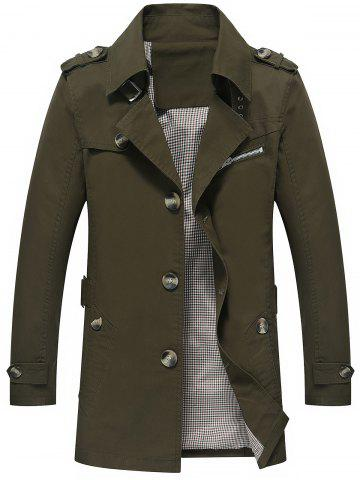 Slim Fit Lapel Button Up Coat - Army Green - M