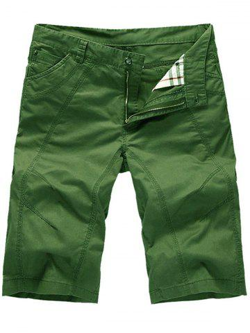 Trendy Zipper Fly Casual Slim Chino Shorts GREEN 35