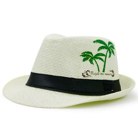 Chic Coconut Tree Letters Printing Ribbon Straw Hat WHITE