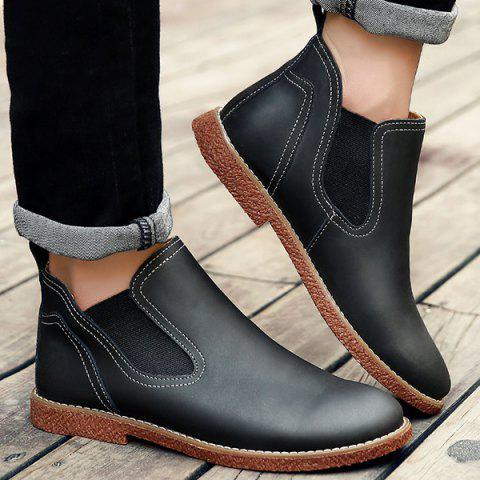 Buy Slip-On Stitching PU Leather Ankle Boots - 42 BLACK Mobile