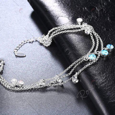 Outfit Multilayered Rhinestone Charm Anklet - SILVER  Mobile