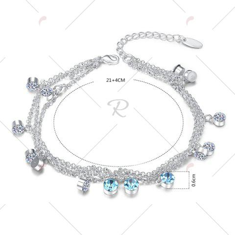 Store Multilayered Rhinestone Charm Anklet - SILVER  Mobile