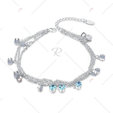 Fashion Multilayered Rhinestone Charm Anklet - SILVER  Mobile