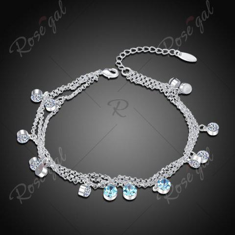 Cheap Multilayered Rhinestone Charm Anklet - SILVER  Mobile