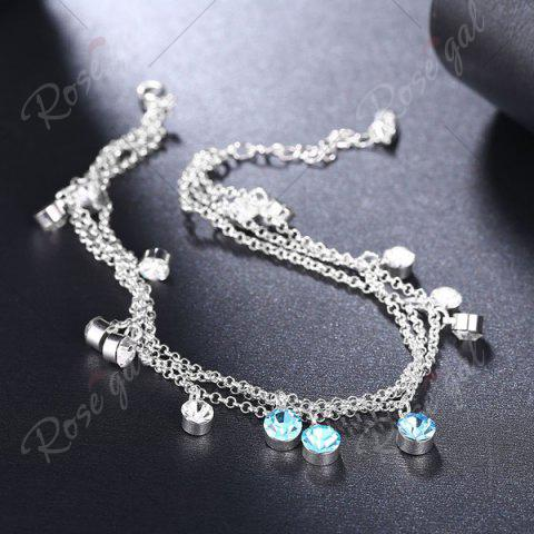 Online Multilayered Rhinestone Charm Anklet - SILVER  Mobile