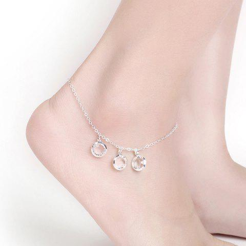 Online Artificial Crystal Round Charm Anklet SILVER