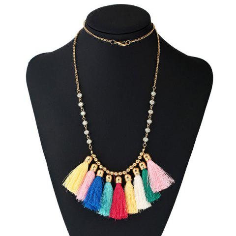 Buy Bohemian Tassel Charm Beaded Necklace COLORMIX